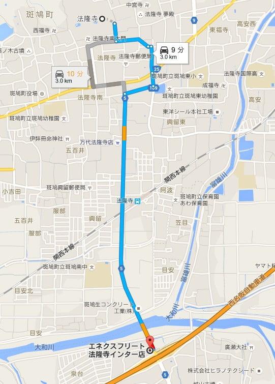 「法隆寺インター」から法隆寺までは3kmほど、県道5号を直進でほぼ到着です。