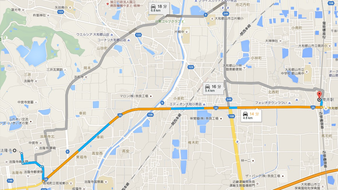 近鉄京都駅から電車で近鉄筒井駅までのアクセス・行き方