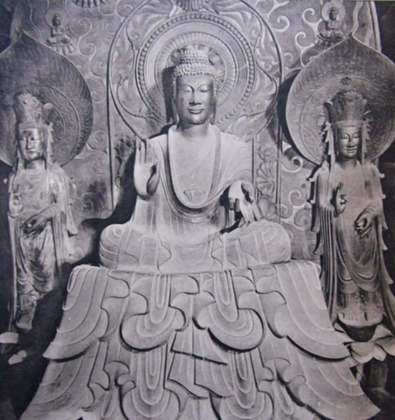法隆寺・(金堂)釈迦三尊像「釈迦如来・文殊菩薩・普賢菩薩」【国宝】