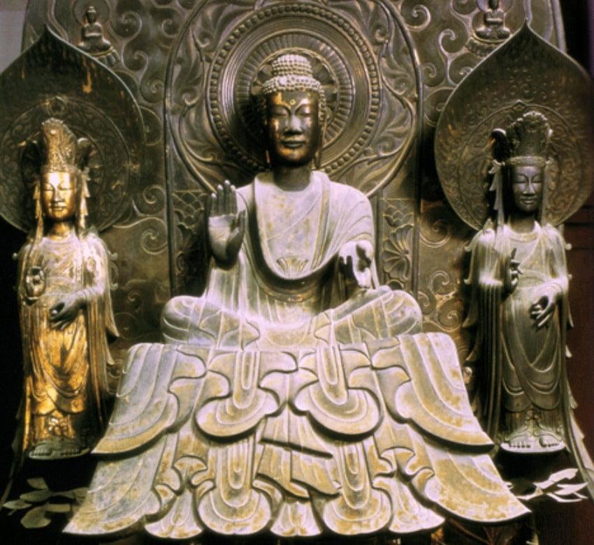 法隆寺・(金堂)釈迦三尊像「釈迦如来・文殊菩薩?普賢菩薩??」【国宝】