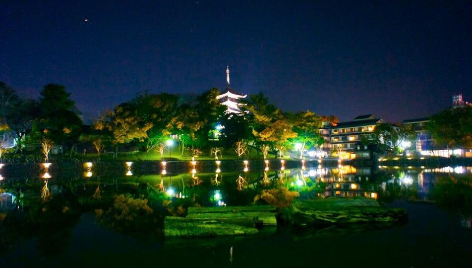 特に興福寺のライトアップは見ものです。