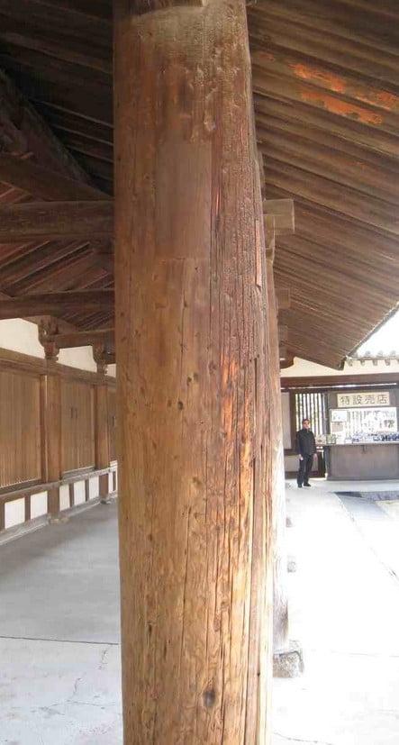 日本の歴史的建造物として唯一の「エンタシス(entasis)」をもつ奈良・法隆寺