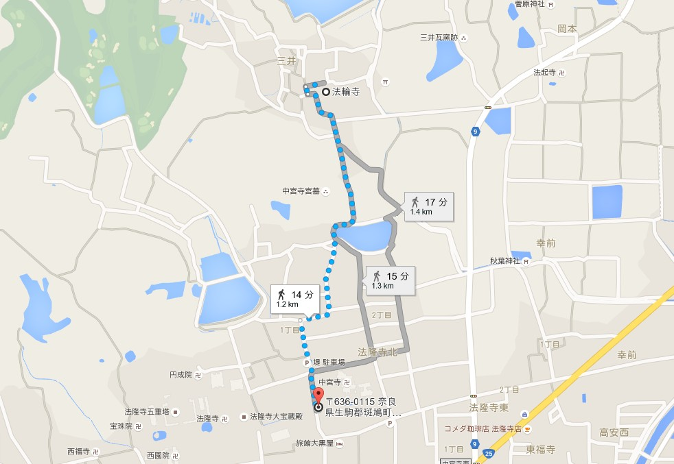 奈良・法輪寺の場所